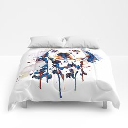 Dalmatian Head Watercolor Portrait Comforters