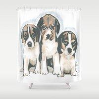 puppies Shower Curtains featuring Puppies 1 by JennFolds5 * Jennifer Delamar-Goss