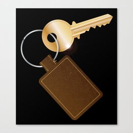 Leather Key Fob With Key Canvas Print