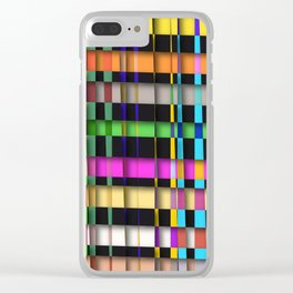 inclined coloured stripes with shadows Clear iPhone Case