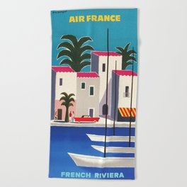 Vintage poster - French Riviera Beach Towel