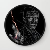tesla Wall Clocks featuring TESLA by Squidnay