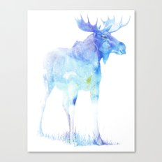 Blue Watercolor Moose Canvas Print
