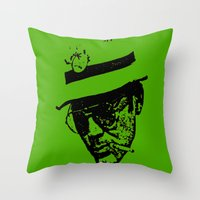 hunter s thompson Throw Pillows featuring Outlaws of Literature (Hunter S. Thompson) by Silvio Ledbetter