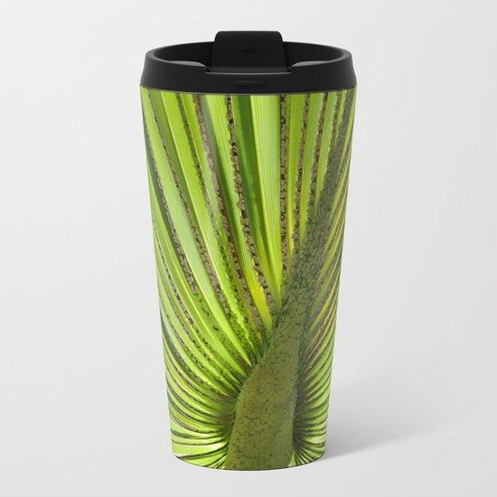 Green Palm Leaf Tropical Plant Metal Travel Mug