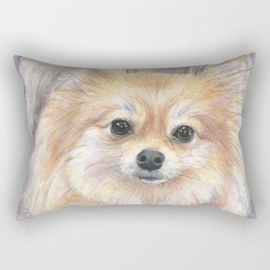 Pomeranian Watercolor Pom Puppy Dog Painting Rectangular Pillow