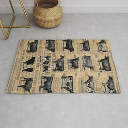 Vintage 1896 Cows Study on Antique Lancaster County Almanac Rug