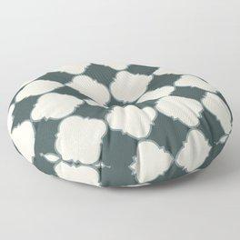 Ornamental Moroccan Alpaca Wool Cream & Night Watch Tile Pattern with Scarborough Green Border Floor Pillow