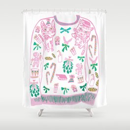 Ugly (but cute) Christmas Sweater Shower Curtain