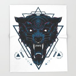 The Dark Wolf sacred geometry Throw Blanket