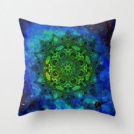 Anatomandala II x Watercolor Nebula Throw Pillow