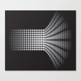 WHITE DOTS ON A BLACK BACKGROUND Abstract Art Canvas Print