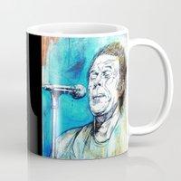 tom waits Mugs featuring Blue Tom Waits by Mark Matlock