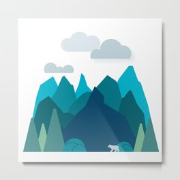 Bear in a Mountain Range Metal Print
