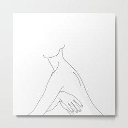 Nude figure line drawing illustration - Jada Metal Print