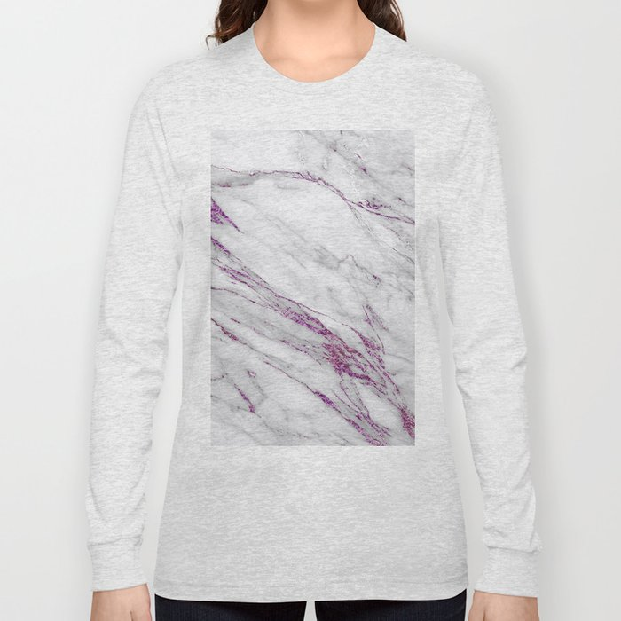Gray and Ultra Violet Marble Agate Long Sleeve T-shirt