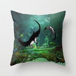 Wonderful manta rays in the deep ocean Throw Pillow