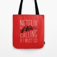 netflix Tote Bags featuring Netflix is calling by Zeke Tucker
