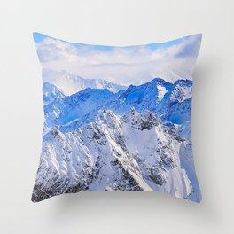 mountains, peaks, snow-covered, snow Throw Pillow