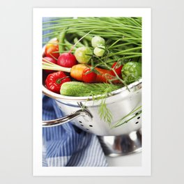Fresh vegetables in metal colander with blue napkin Art Print