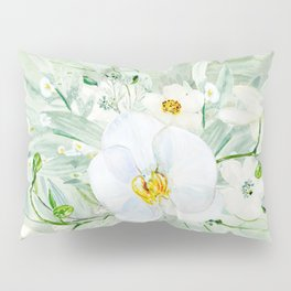 White Orchid Series: Orchid and Eucalyptus Pillow Sham