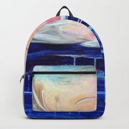 Flourescent Waterfall Painting. Waterfall, Abstract, Blue, Pink. Water. Jodilynpaintings. Backpack