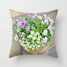 Purple Flowers in Urn Throw Pillow