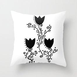Three Tulips Doodle Art – Black Graphic Throw Pillow
