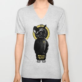 Who Let the Cat Out !? on grey wall Unisex V-Neck