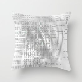 Weird shaky and foggy white and light grey texture on strange innocent wall Throw Pillow