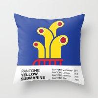 yellow submarine Throw Pillows featuring Pantone YELLOW SUBMARINE by Alberto Lamote de Grignon