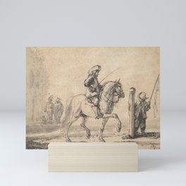 A Mounted Grey Horse Being Schooled in Piaffe Mini Art Print