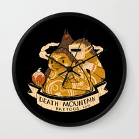 tattoos Wall Clocks featuring death mountain tattoos by Louis Roskosch