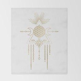 Golden Goddess Mandala Throw Blanket