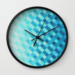 Aqua Blue Light Abstract Grid Pattern Design Wall Clock
