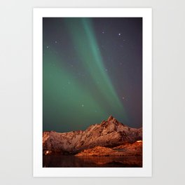 Mountains Landscape: Northern Lights - Aurora Art Print