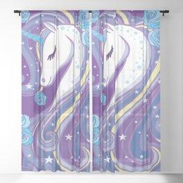 Magical Unicorn in Purple Sky Sheer Curtain