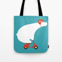 budi satria kwan Tote Bags featuring Polar bear on scooter by Picomodi