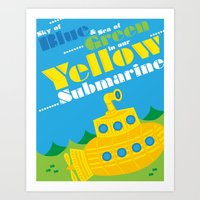 yellow submarine Art Prints featuring Yellow Submarine by robyriker