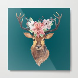 Winter Deer Teal Metal Print