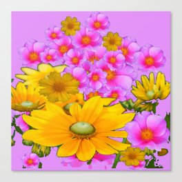 PINK COLOR PINK-YELLOW FLORALS ART Canvas Print
