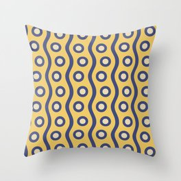 Mid Century Modern Rising Bubbles Pattern Blue and Yellow Throw Pillow