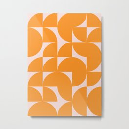 Modernist Shapes in Orange Metal Print