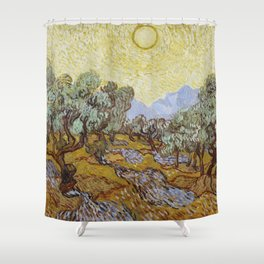 Vincent van Gogh - Olive Trees with Yellow Sky and Sun Shower Curtain