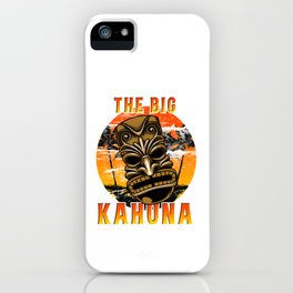 Funny Hawaiian Tiki Mask Luau Hawaii The Big Kahuna Pun Cool Gift iPhone Case