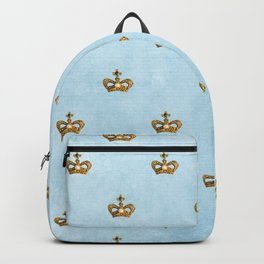 Gold crowns on lightblue watercolor backround - pattern Backpack