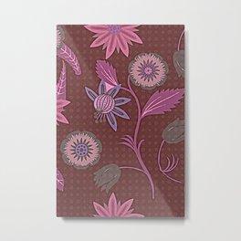 Mauve Brown Garden Walk - Watercolor Vintage Botanical Metal Print