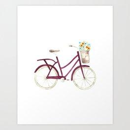 Vintage Purple Bicycle with Basket of Flowers Watercolor Art Print