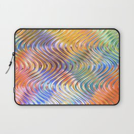 Artistic Stylish Colorful Faux Embossed 3D Waves Pattern Laptop Sleeve