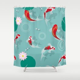 Koi swim in the clear water Shower Curtain